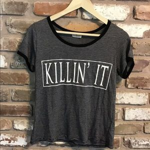 "FREE KISSES Shirt ""Killin' It"" Striped"